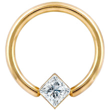 Diamond Princess Corner Mount 14K Gold Captive Bead Ring