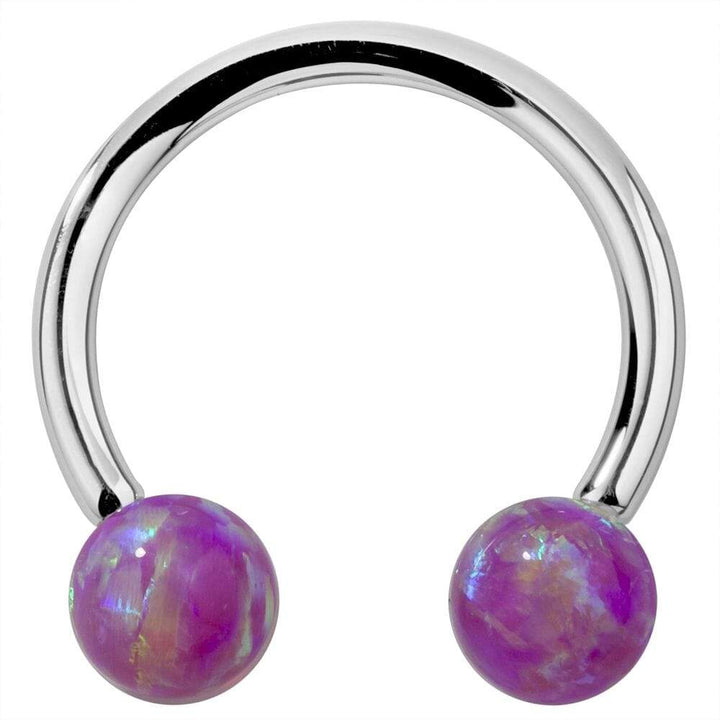 White Gold Purple Opal 14k Gold Circular Barbell