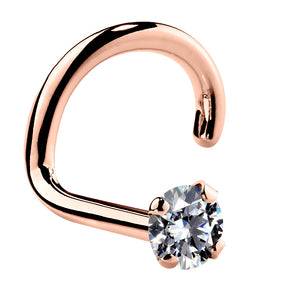 1.5mm Tiny Cubic Zirconia 14K Gold Nose Ring