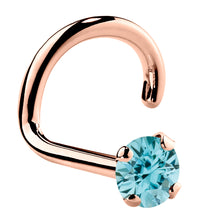 Genuine Blue Zircon 14K Gold Nose Ring