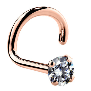 2mm Small Cubic Zirconia 14K Gold Nose Ring