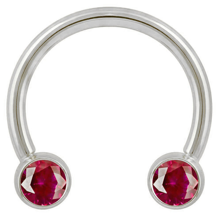 4mm Red Cubic Zirconia Round Bezel 14k Gold Circular Barbell