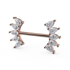 Side View Rose Gold White Sapphire 10 Pears Crescent 14k Gold Barbell Nipple Ring