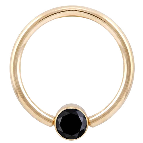 Black Diamond Round Bezel 14K Gold Captive Bead Ring