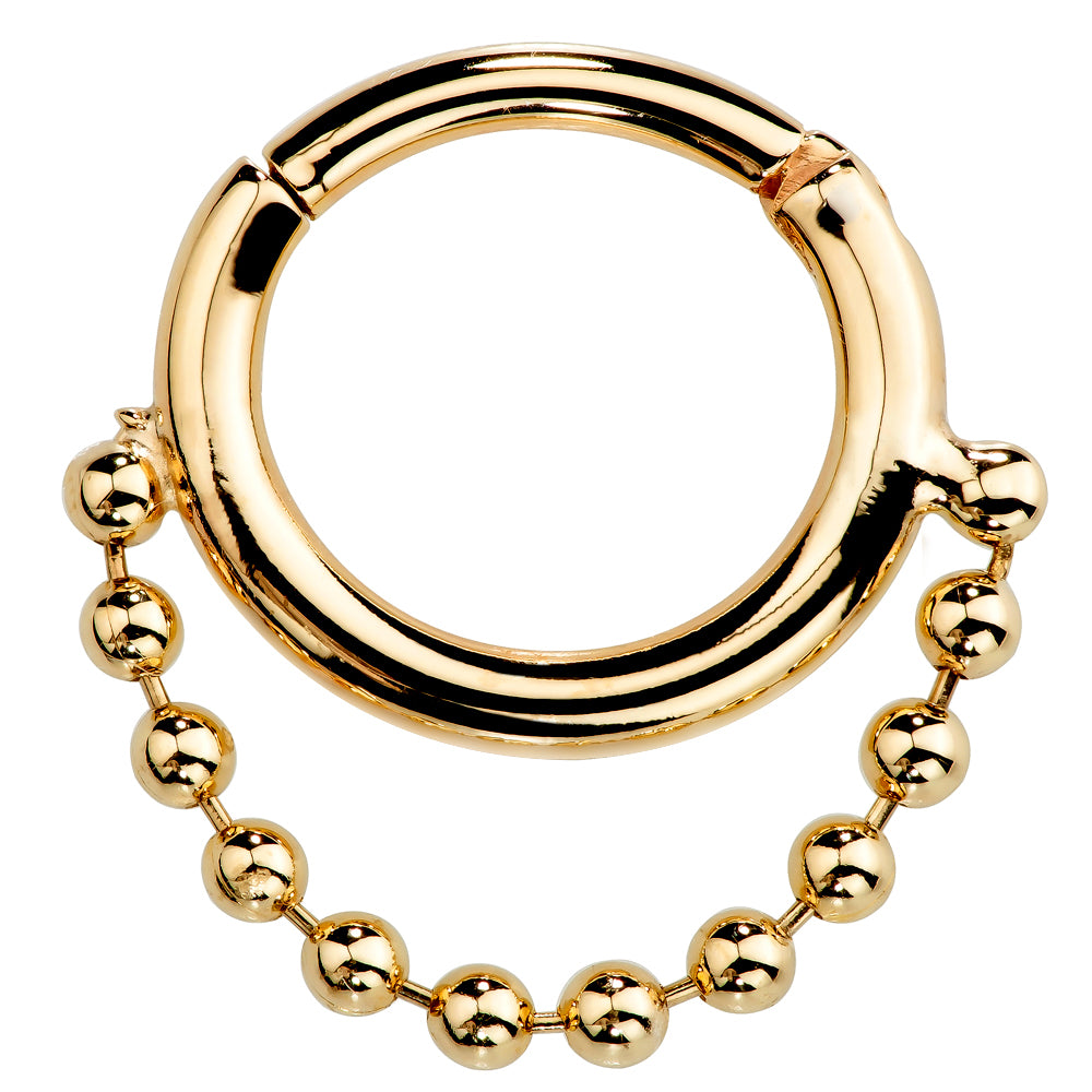 Yellow Gold - Beaded Chain 14K Gold Hinged Segment Clicker Ring