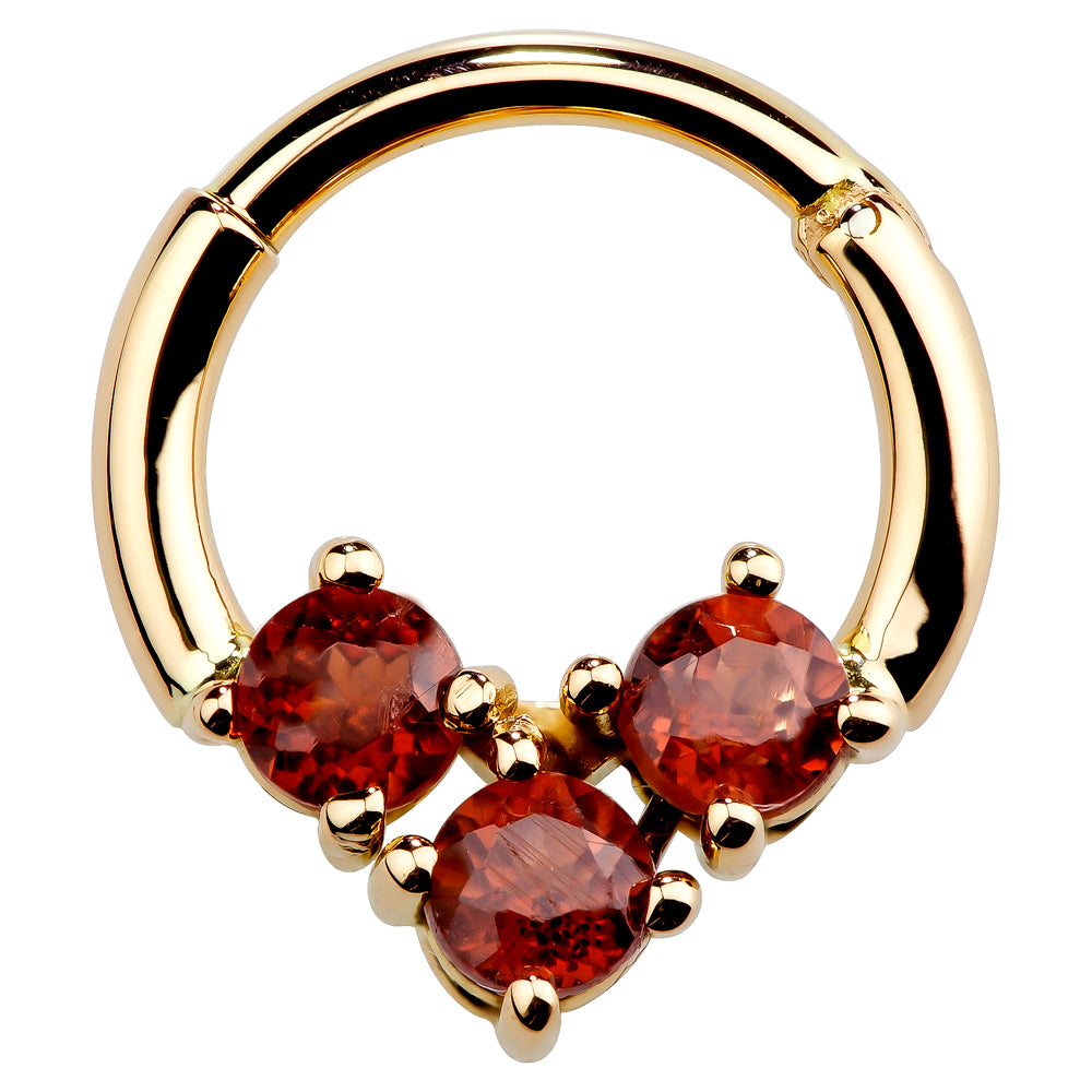 Faux Garnet 14K Gold Hinged Segment Clicker Ring