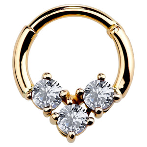 Cubic Zirconia 14K Gold Hinged Segment Clicker Ring