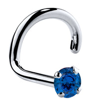 Genuine Blue Sapphire 14K Gold Nose Ring