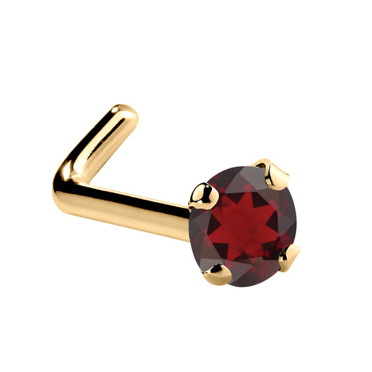 Genuine Garnet 14K Gold Nose Ring