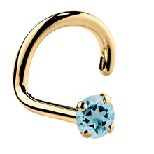 Genuine Aquamarine 14K Gold Nose Ring