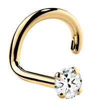 Genuine White Topaz 14K Gold Nose Ring