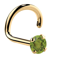 Genuine Peridot 14K Gold Nose Ring