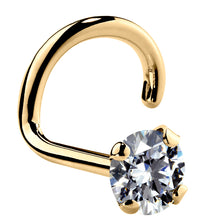 3mm Large Cubic Zirconia 14K Gold Nose Ring