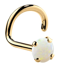 Genuine Opal 14K Gold Nose Ring