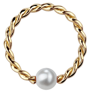 Cultured Pearl 14K Gold Twisted Captive Bead Ring