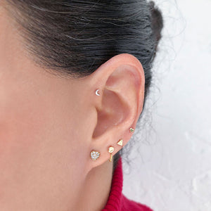 Diamond Paved Heart 14K Gold Labret Tragus Cartilage Flat Back Earring