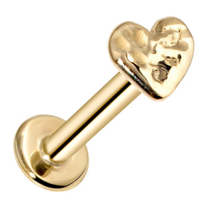 Heart Artisan Hammered 14K Gold Labret Tragus Nose Cartilage Flat Back Earring