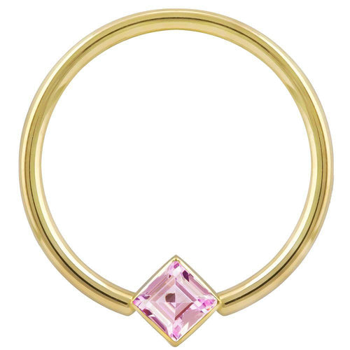 Rose Gold Princess Purple CZ Corner Mount 14k Gold Captive
