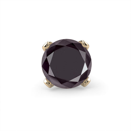 Black Diamond Prong 14K Gold Nose Ring
