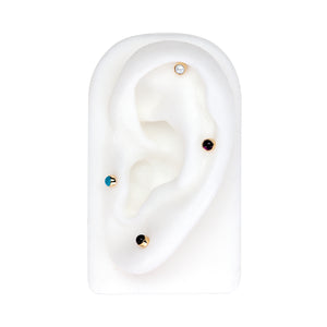 3mm Black Onyx Cabochon Lip Tragus Nose Cartilage Flat Back Earring