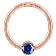 Rose Gold Blue Cubic Zirconia Round Bezel 14k Gold Captive Bead Ring