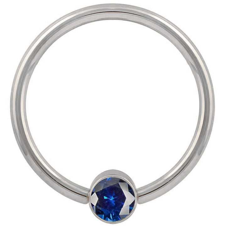 White Gold Blue Cubic Zirconia Round Bezel 14k Gold Captive Bead Ring