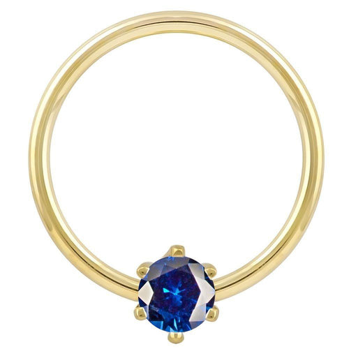 Yellow Gold - Blue Cubic Zirconia Round Prong 14k Gold Captive Bead Ring