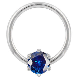 White Gold - Blue Cubic Zirconia Round Prong 14k Gold Captive Bead Ring