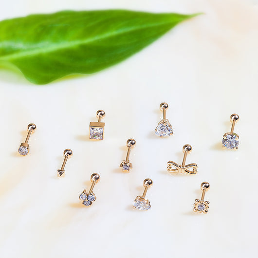 Triple Diamond 14k Gold Cartilage Earring Stud