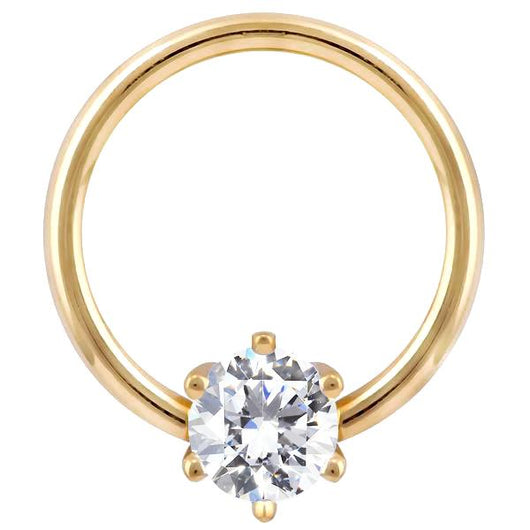 Yellow Gold - Cubic Zirconia Round Prong 14k Gold Captive Bead Ring