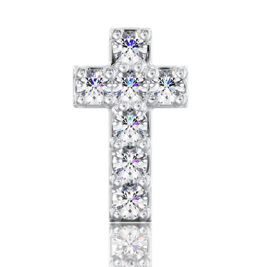 Diamond Cross 14k Gold Stud Earring