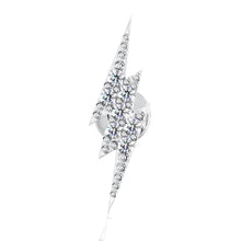 Front View - Diamond Pave Lightning Bolt 14k Gold Flat Back Stud