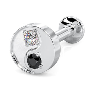 Black & White Diamond Yin Yang 14k Gold Flat Back Stud