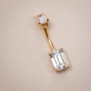 Double Emerald Cut Cubic Zirconia 14k Gold Belly Ring