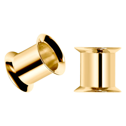 Double Flare Tunnel 14k Gold Plugs