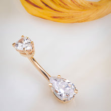 Double Pear Shape Cubic Zirconia 14k Gold Belly Ring