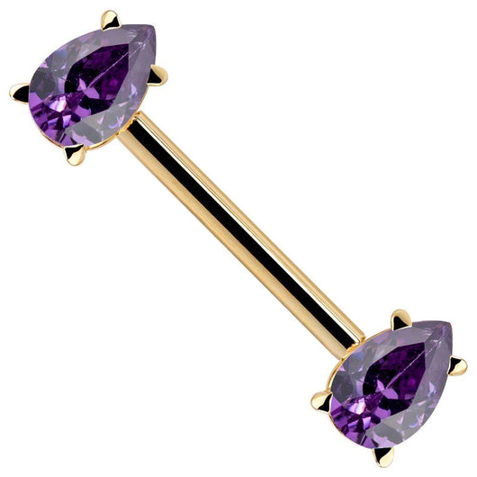 Purple CZ Yellow Gold Teardrop 14k Gold Straight Barbell
