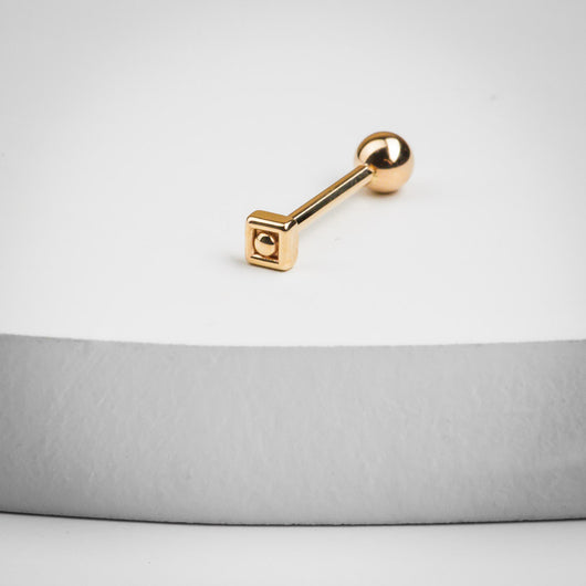 Elegant Balinese Square 14K Gold Cartilage Stud Earring