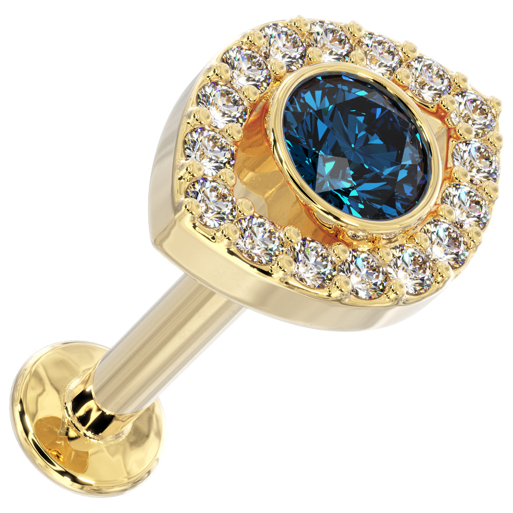Yellow Gold Evil Eye Diamond & Blue Topaz 14k Gold Flat Back Earring
