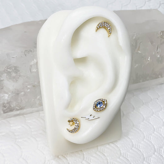 Model Diamond Moon Cartilage Earring Lip Tragus Nose Flat Back Stud
