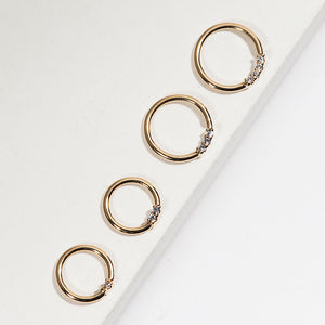 Yellow gold, diamond front facing seamless hoop rings