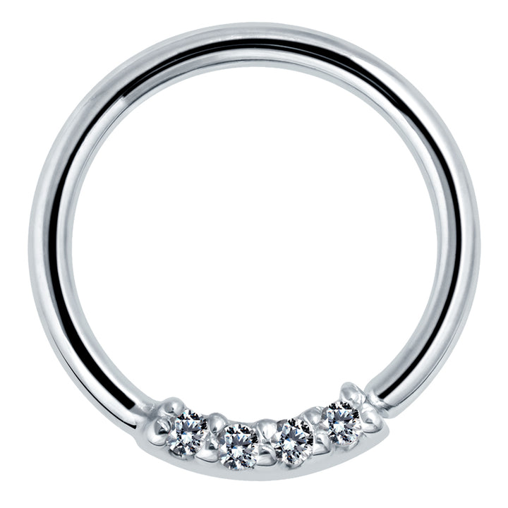 Four Diamonds Seamless Ring Hoop 14K Gold or Platinum