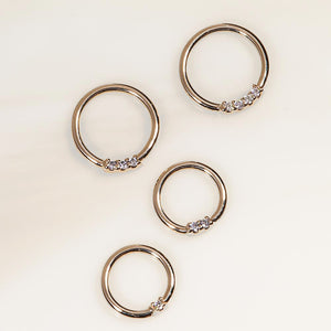 Yellow gold diamond front facing seamless hoop rings