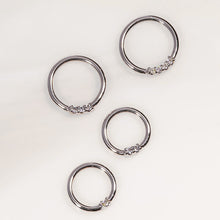 White gold diamond front facing seamless hoop rings