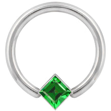 4mm Green Cubic Zirconia Princess Cut Corner Mount 14k Gold Captive Bead Ring
