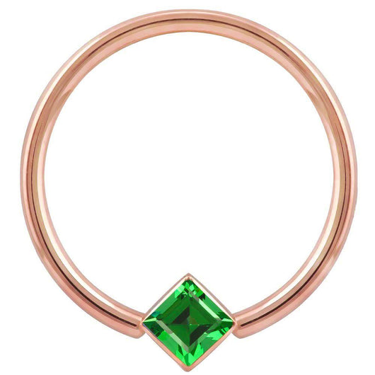 Rose Gold Green Cubic Zirconia Princess Cut Corner Mount 14k Gold Captive Bead Ring