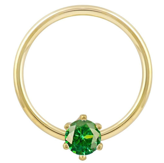 Yellow Gold - Green Cubic Zirconia Round Prong 14k Gold Captive Bead Ring