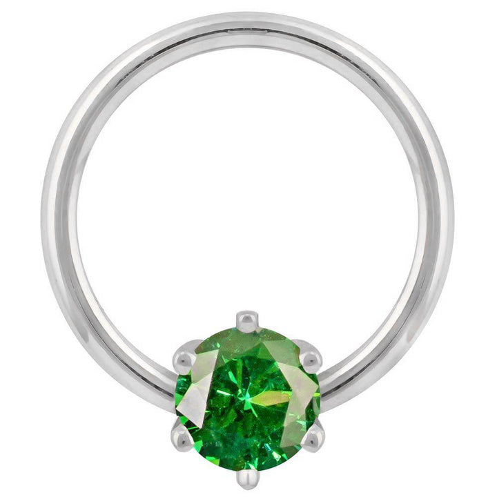 White Gold - Green Cubic Zirconia Round Prong 14k Gold Captive Bead Ring
