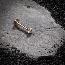 Concept image for CZ Low-Set 14K Gold Labret Flat Back Earring