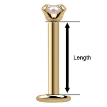 How to measure length of CZ Low-Set 14K Gold Labret Flat Back Earring
